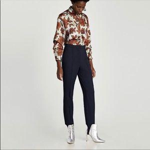 Zara Navy Blue Stirrup Pants NWT Size Large